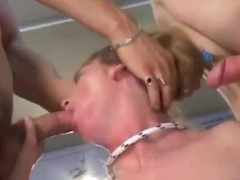 Blonde tied up and fucked by two
